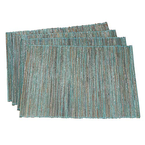 SARO LIFESTYLE 217.TQ1420B Melaya Collection Shimmering Woven Nubby Table Placemats (Set of 4), 14