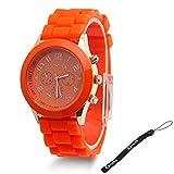 Estone Classic Womens Girls Geneva Silicone Jelly Gel Quartz Analog Sports Wrist Watch (Orange)