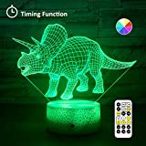 [Wall Adapter Included] Remote & Touch Control LED Dinosaur Night Light with Timer Dimmable Bedside Table Desk Lamp 7 Color Changing Nightlights for Boys Birthday Christmas Gift Home Decoration