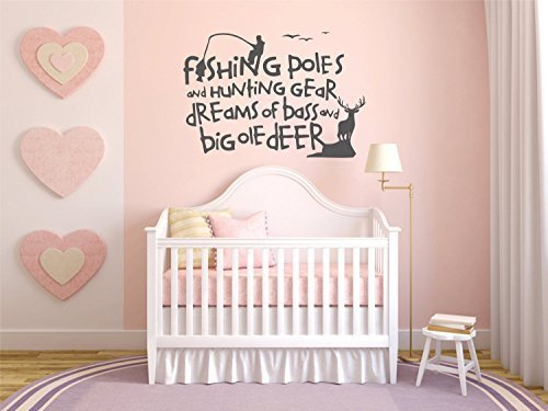 "Wall Decal Decor Fishing Wall Decal Quotes - Fishing Poles And Hunting Gear Dreams Of Bass And Big Ole Deer - Living Room Baby Nursery Vinyl Wall Sticker(dark gray, 15.5""h x22""w)"