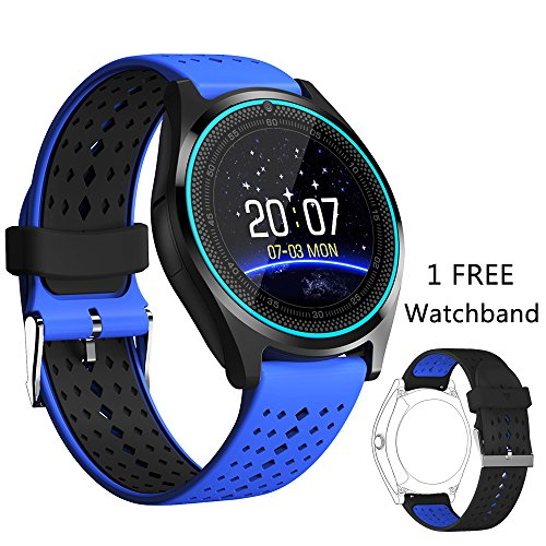V9 Bluetooth Smartwatch Touchscreen with Camera, Smartphones Support SIM/TF Card Insert with Health Management for Android Samsung iOS iPhone 7 Plus 6s Men Women Kids Boys (Blue) (Digital Pixel Watch)