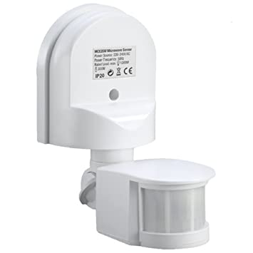 Maclean MCE25 Detector de Movimiento Pared Movimiento Sensor Infrarrojos 180 ° Sensor Exterior empotrable Techo Pared Color Blanco: Amazon.es: Electrónica