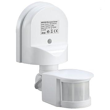 Maclean MCE25 Detector de Movimiento Pared Movimiento Sensor Infrarrojos 180 ° Sensor Exterior empotrable Techo Pared Color Blanco: Amazon.es: Electrónica