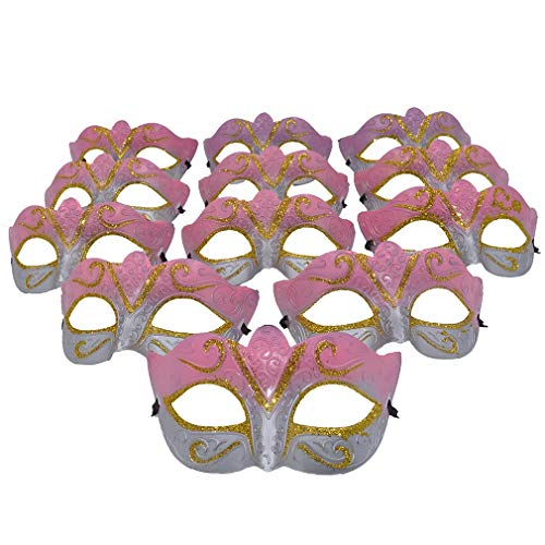 Yiseng Masquerade Mask Party Favors Mardi Gras Venetian Mask Halloween Novelty Gifts Pack of 12 (Pink)