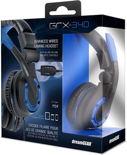 dreamGEAR: GRX-340 Advanced, Wired Stereo Gaming Headset for PS4  Includes Inline Dual Volume Control For Chat and Game Sounds. Also works with XBOX One, and other systems ()