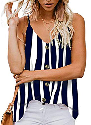 (jonivey Womens Hawaiian Button Up Front Tie Striped Shirt V Neck Tank Tops (Striped Blue,S) )