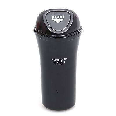 LIOOBO Mini Car Trash Can Bin with Lid Auto Dustbin Organizer Leakproof Vehicle Trash Bin Garbage Can (Black): Automotive [5Bkhe1507620]