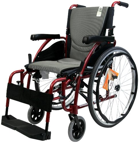 Karman-Ergonomic-Wheelchair-in-16-Seat-Red-Frame-and-Silver-Cushion