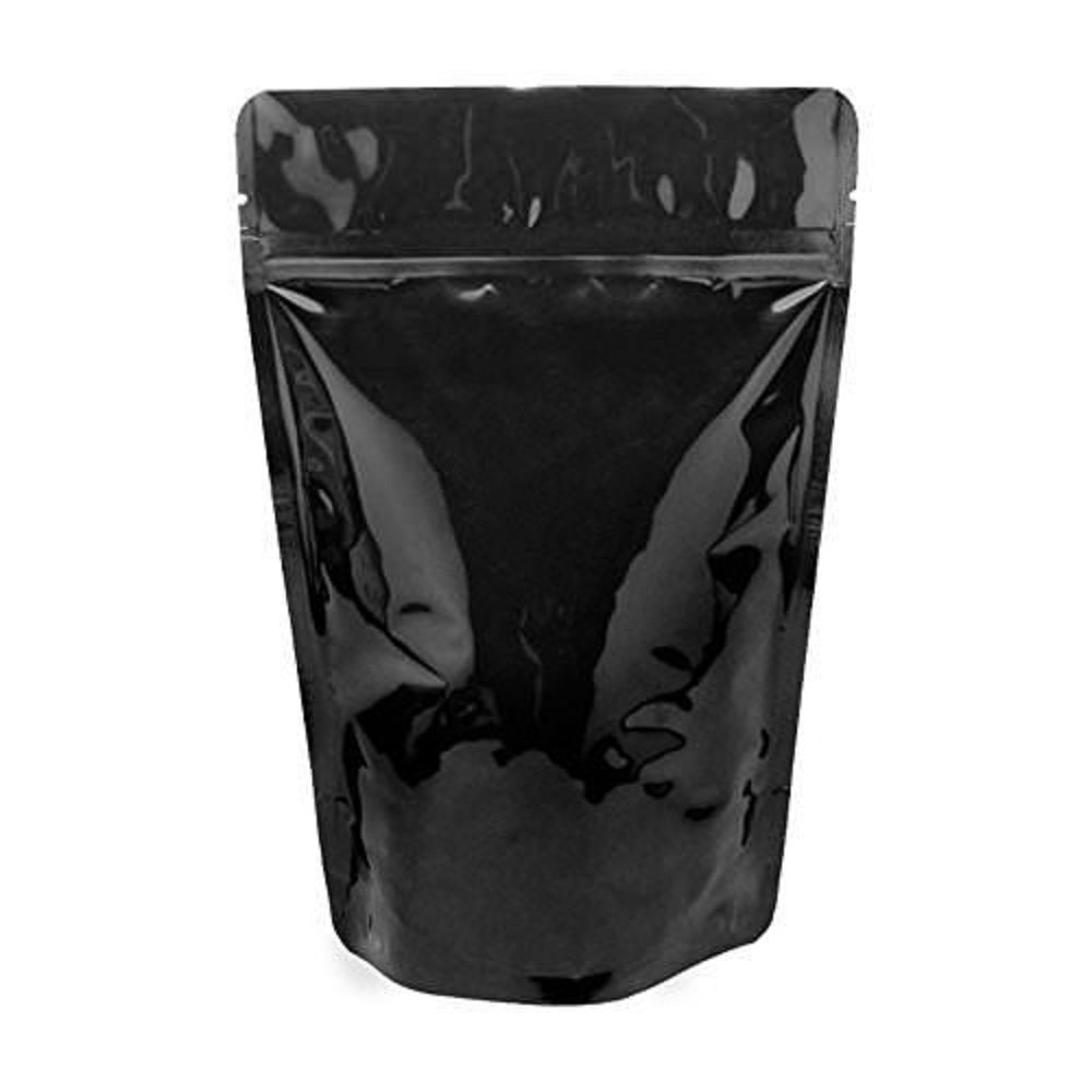 (100) - Black Shiny Food Pouch Zip Lock Stand Up Zipper Recycled Food Bag 470ml - Smell, Odour, Leakproof Protection FDA and USDA Food Compliant (100 Pack) B01MSJ83S7