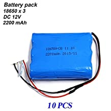 18650 x3 rechargeable li-ion battery pack 2200mAH 12V with 150mm black and red wire (10 PCS)