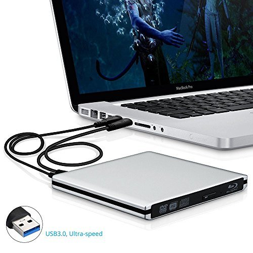 YAHEY USB 3.0 External CD-RW/DVD-RW Blu-ray Disc Player with 2 USB Cables - Silver