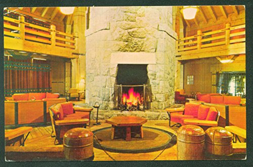Timberline LODGE Oregon Lobby Stone Fireplace Postcard