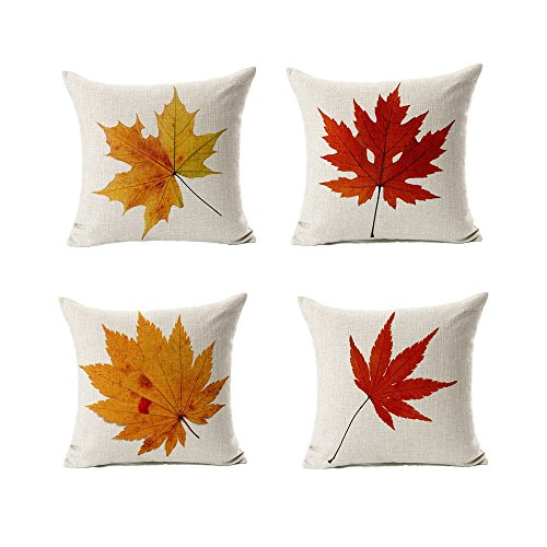 All Smiles Decorative Fall Throw Pillow Covers Cases Outdoor Autumn Decor Thanksgiving Maple Leaves Cushion Cotton Linen for Patio Couch Home Sofa Set of 4,18x18 (Cushions Outdoor Fall)