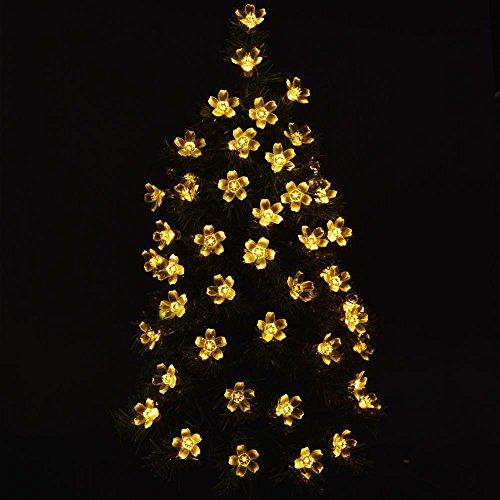 lederTEK Solar Christmas Flower Starry Fairy String Lights 21ft 50 LED Blossom Decorative Light ...