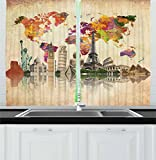 Ambesonne Kitchen Decor Collection, Landmarks of the World Seven Wonders Europe Asia America Abstract Map Moden Design, Window Treatments for Kitchen Curtains 2 Panels, 55X39 Inches, Sepia Cream