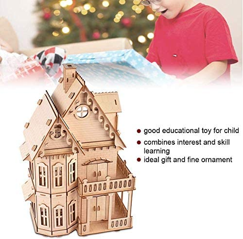 ARTFFEL Lightweight 3D Wooden Villa Puzzle DIY,3D Wooden Villa Puzzle Toy Educational Crafts Jigsaw Assembly Model Gift For Children Adults Good