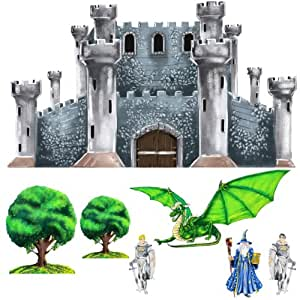 Medieval Castle Dragon Knight Wizard Wall Mural Sticker