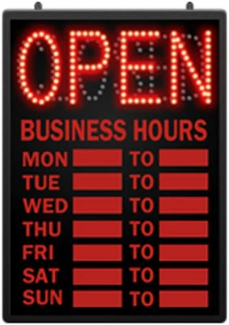 Retails LED Open Closed Sign with Hour 16 5//8 in W x 1 5//8 in D x 23 in