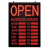 Retails LED Open Closed Sign with Hour 16 5/8 in W x 1 5/8 in D x 23 in