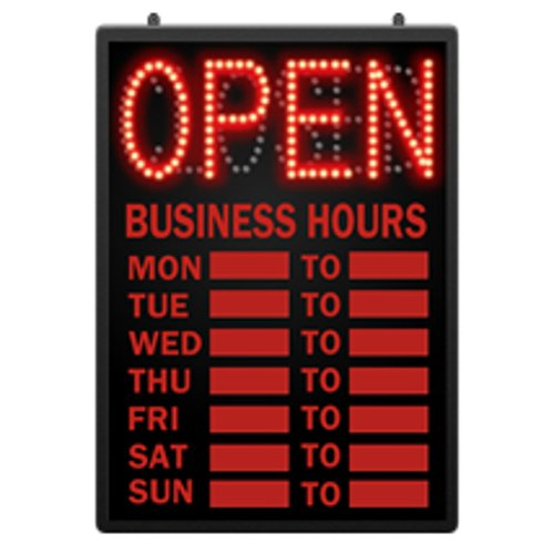 Retails LED Open Closed Sign with Hour 16 5/8 in W x 1 5/8 in D x 23 in by LED sign