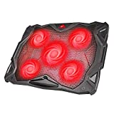 HAVIT 5 Fans Laptop Cooling Pad 14-17 Inch Laptop, Cooler Pad LED Light, Dual USB 2.0 Ports, Adjustable Mount Stand (Black)