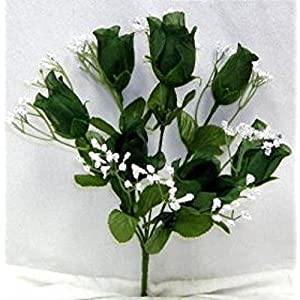 Artificial Garden 7 Silk Flower Floral Arrangements Buds Roses Hunter Green Wedding Flowers Bouquet Bush Centerpieces No Dew 99