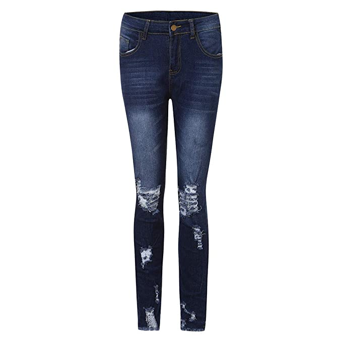 def60382106e1 Kehen New Womens Ripped High Waisted Jeans Washed Hole Denim Long Pants at  Amazon Women s Jeans store
