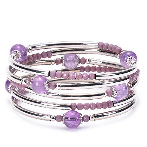 (RONLLNA Bracelet for Women and Teens Birthstone Charm Eternal Love Crystal Jewelry for Women Girl (Purple wrap) )