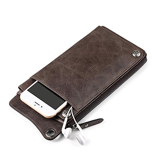 Khaki Artificial Color Purse Wallet Honey Dark Brown Holding Retro Hand Dark Leather Brown Mobile Men's 6S WALLETS Bag Dark brown Phone FanWSaA