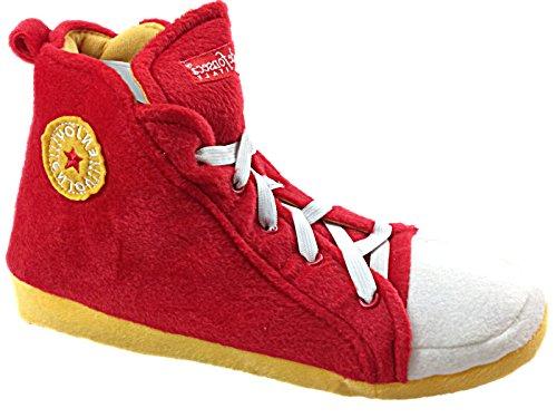 Unisex Pantoffeln im Stile eines Baseballschuhs für Erwachsene Rot / Gelb
