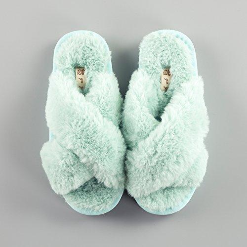 LaxBa Lhiver au chaud, lhiver Chaussons Chaussons moelleux Accueil chaleureux en hiver, chaussures antiglisse Chambre Chaussons vert Croix40-70
