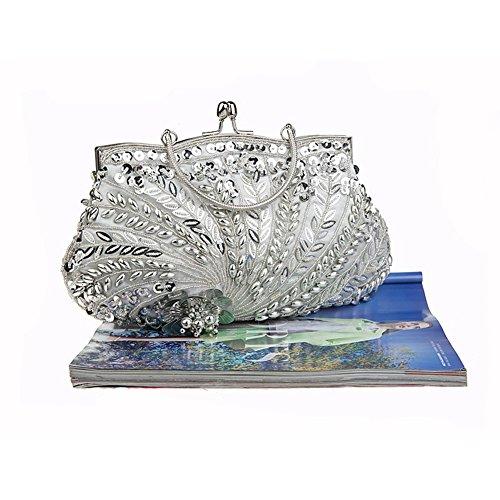 Flada Vintage hecho a mano de cuentas de flores noche bolso de embrague para las mujeres bolso de la boda La Plata