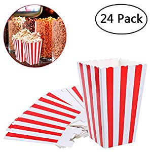 Amazon.com: NUOLUX Popcorn Boxes Containers Paper Popcorn Bags White Red Striped Pack of 24 ...