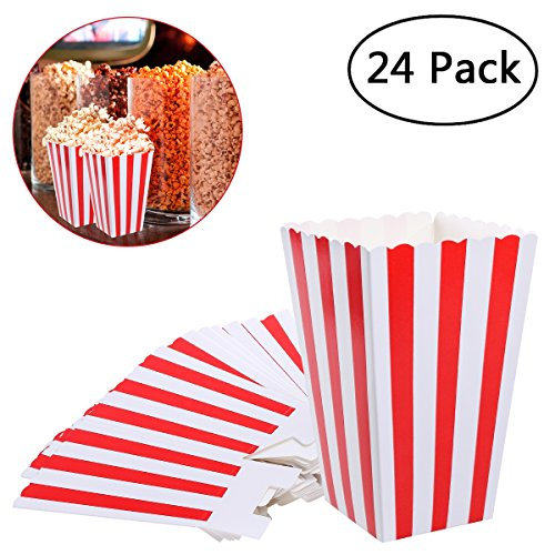 NUOLUX Popcorn Boxes Containers Paper Popcorn Bags White Red Striped Pack of 24 -
