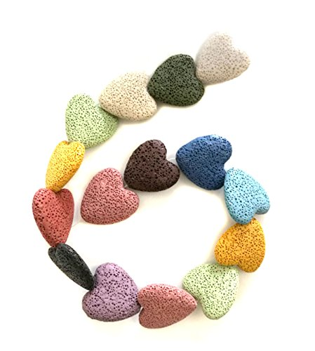 (Heart-Shaped Colored Lava Stone Beads Loose Beads Rock Beads Volcanic Gemstone for Earrings Bracelet Necklace Jewelry Making (Mixed Colour,)