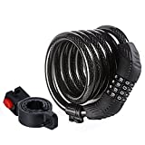 ETRONIC Security Bike Lock M8 Self Coiling Resettable Combination Lock Bike Cable Lock, 6-Feet x 5/8-Inch