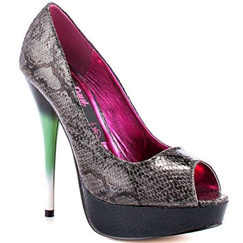 Iron Fist Rupaul de Piel de Serpiente Zapatos de Diseño de Leigh Ann Tennant - Gris Oscuro QuO3s8Rs