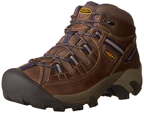 KEEN Women's Targhee II Mid WP-W Hiking Boot, Goat/Crown Blue, 9 M (Blue Hiking Boots)