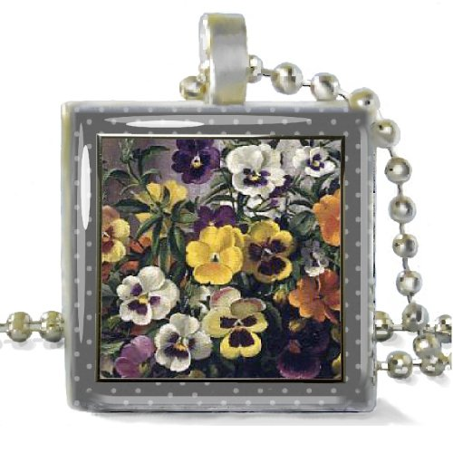 Pansy Faces on Square Silver Plated Pendant w/ 24