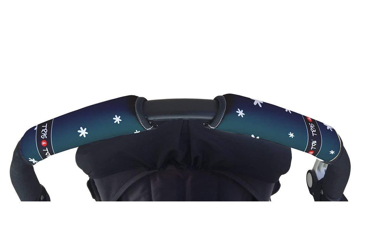 Tris & Ton - Funda cubre asa horizontal universal, empuñadura fundas mango para silla de paseo manillar para cochecito carrito bebe. ¡Distintos diseños! (Fabricado 100% en España) (Black)