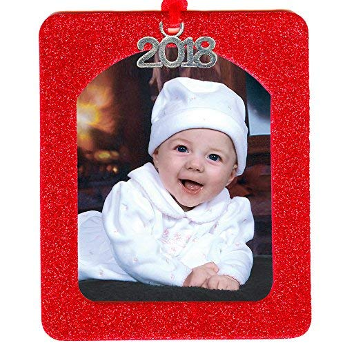 2018 Magnetic Glitter Christmas Photo Frame Ornament with Non Glare Photo Protector, Vertical - Red