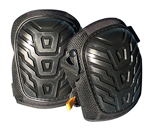 4thXchange Professional Black Gel Knee Pads - Comfortable Strong Non-Skid Heavy Duty - Adjustable for Men Women - for Construction Gardening Cleaning Flooring and Indoor-Outdoor Work