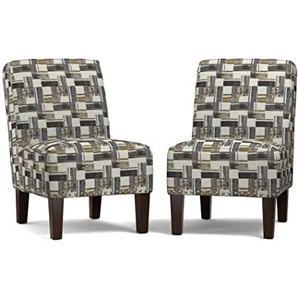 Set Of 2 Velvet Accent Chairs, Armless Design,Curved Square Back, Multiple  Colors