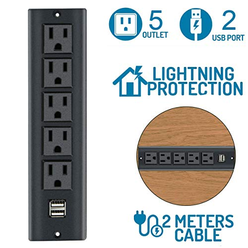 Conference Recessed Power Strip Socket with 5 AC Outlets 2 USB 2.1A 6.56ft Power Cord,Black Color Desktop Power