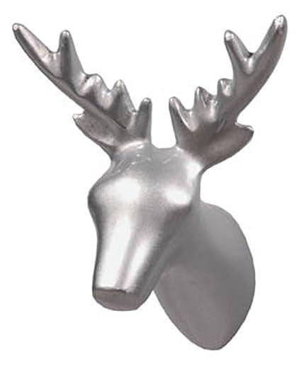 Capventure Perchero con forma de cabeza de reno, color plateado ...