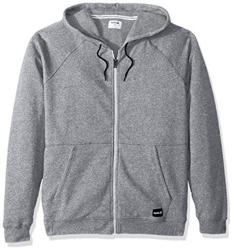 (Hurley Men's Crone Marled Texture Hoodie Zip Fleece, Grey Heather,)