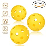 Pickleball Balls - Professional Patented 26 Hole Design Pickleball Balls, Set of 3 Indoor & Outdoor Pickleballs, High-vis Optic Yellow Pickleball Balls, USAPA Approved Pickleball Balls.