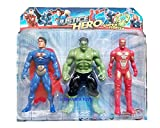 Super heroes 3 in 1 Action Figure Set with projection light - Superman, Hulk, Ironman (Multicolor)
