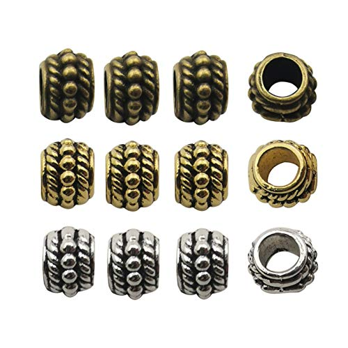 120pcs Antique Silver Bronze Gold Mixed 8mm Loose Spacer Bead,Craft Supplies Charms Pendants for Jewelry Findings Making Accessory for DIY Bracelet Necklace M232