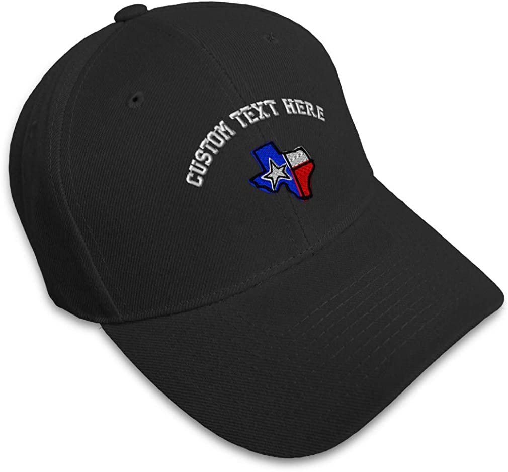 Custom Baseball Cap Texas State Flag Map B Embroidery Dad Hats for Men /& Women